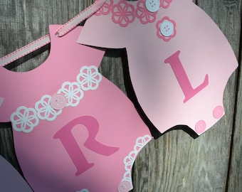 Pink and White Baby Shower Banner, It's a Girl Banner, Onesie Banner, Gender Reveal Banner