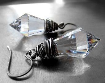 Clear Crystal Spike Dagger Earrings, Oxidized Sterling Silver Wire Wrapped, Modern Jewelry, Minimalist Jewelry, Goth Gothic Jewelry Earrings