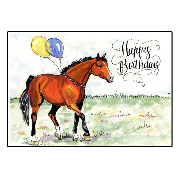 Birthday card happy birthday horse card bay horse birthday zoom bookmarktalkfo Gallery