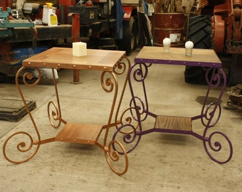 Wrought iron side table, hand forged, with fine woods, any color of your choice
