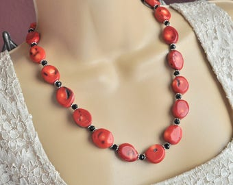 Red Coral, Black Crystal and Silver Necklace and Earring Set