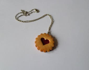 necklace, pendant, with a heart cookie in strawberry polymer clay