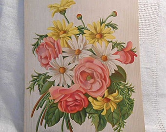Gorgeous PINK ROSES & DAISIES Litho Print, Spring Bouquet, Vintage 1950s Signed Botanical, 9 x 12  Original Barkcloth Era Art to Frame