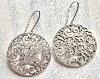Antiqued Silver Tibetan Style Earrings, Discs, Round, Elaborate