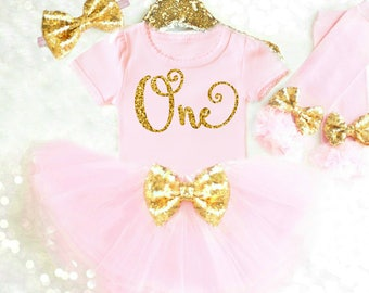 Pink 1st Birthday Outfits Pink First Birthday Outfit Pink and Gold 1st Birthday Girl Outfit Pink Birthday Tutu Pink Cake Smash Outfit Girl
