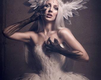 Swan Odette Bridal Headdress MADE TO ORDER