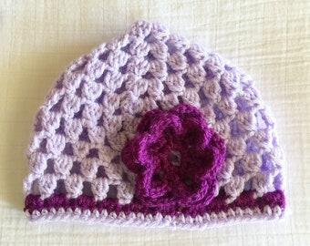 Toddler Purple Miss Priss Hat with flower crochet hat for girls child size hat crochet cloche kid hat crocheted beanie