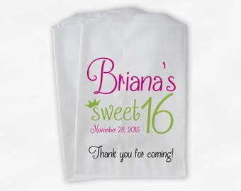Sweet 16 Birthday Personalized Candy Buffet Bags - Hot Pink and Lime Thank You Custom Favor Bags with Crown - 25 Paper Treat Bags (0081)