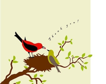 scarlet tanagers thank you note card collection