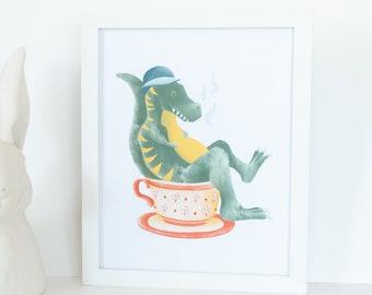 T Rex Animal Wall Art, Green Dinosaur Home Decor, Tyrannosaurus Rex Nursery Print, Dino Nursery Wall Art, Trex Nursery Decor