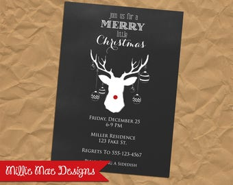 Chalkboard Rudolph Invitation - Deer - Antler - Reindeer