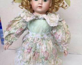 """Cute and bright - Green Eyed 14"""" Porocelain doll by MARIAN YU Designs ( MYD)"""