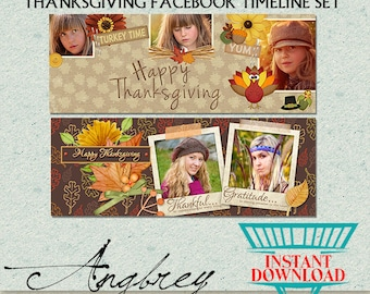 Thanksgiving Facebook Timeline Set, Photoshop Template