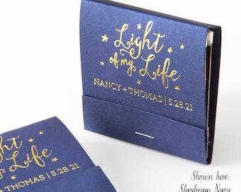 LIGHT of my LIFE Matchbooks - Wedding Favor, Wedding Matches, Wedding Decor, Personalized Matches, Custom Matchbook, Shower Favor, Gold Foil