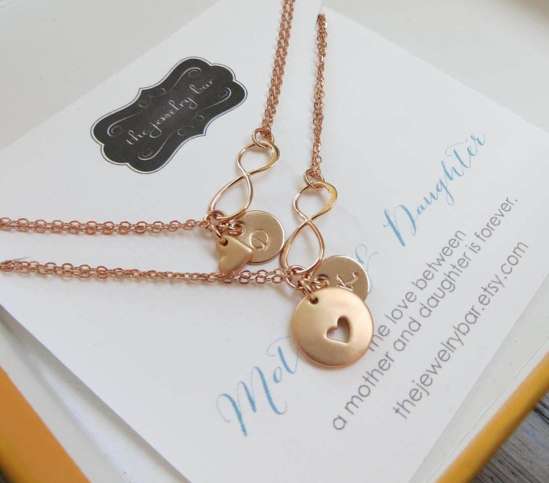 necklace gold daughter necklaces set infinity il rose mother listing fullxfull