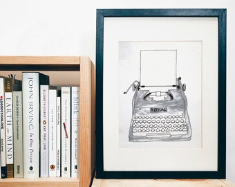 PRINT of original art - royal typewriter - black and white - print of a gouache painting