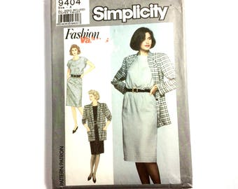 Simplicity 9404, Women's Dress and Jacket Pattern, Easy to Sew, Size 8-18, Vintage Uncut Pattern