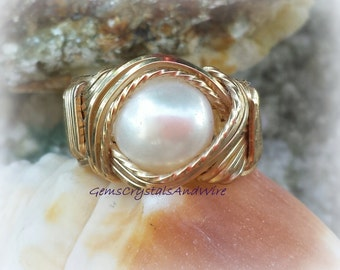 Gold Ring, Wire-Wrapped Ring, Pearl Ring, Ladies Ring, Statement Ring,  Gift Idea