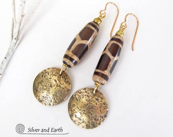 Tribal African Earrings, Brass Earrings, Brown Agate Earrings, Gold Dangle, Ethnic Earrings, Handmade African Tribal Jewelry, Boho Earrings