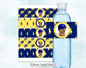 Water Bottle Labels   African American Ponies Yellow & Navy Blue   Little Prince Vintage Baby Boy   Digital Instant Download