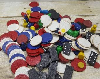 Wood Game Pieces, Destash, Large lot, vintage game pieces