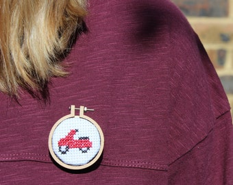 Motorbike cross stitch brooch