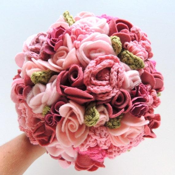 Keepsake Bouquet Pink and Blush Crochet and Felt Wedding