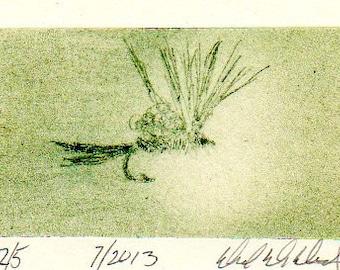 Pêche et voler liant Art - Original Art - gravure - emergeante Fly - Michigan fait - Michigan artiste - mouche pêche - cadre noir