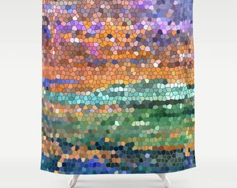 Abstract colorful Shower Curtain - Egyptian Royalty Stained glass mosaic design, art, decor, bath, home, sunset, beautiful, jewel tones