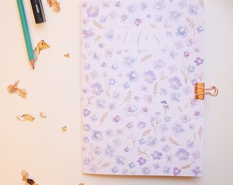 A5 floral notebook / plain recycled notebook