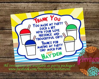 Snoball Birthday Thank You Card, Snowcone, shaved ice, Summer Birhtday theme printableThank You Cards