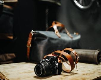 Camera strap by Kruk Garage Leather camera strap Camera accessories Shoulder strap Fotostrap Photographer gift FREE PERSONALIZATION