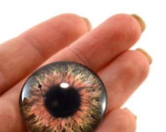 Brown Glass Eye Cabochon 30mm Steampunk Eye for Pendant Jewelry Making or Taxidermy Doll Eyeball Flatback Circle