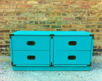 Vintage Campaign Dresser In Turquoise