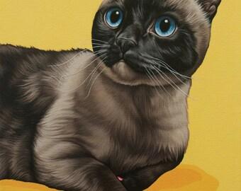 Custom Painted Pet Portrait, 11x16 Siamese Cat Painting, Siamese Cat Portrait, Gift for Cat Lover, Siamese Cat Art, Memorial Cat Portrait