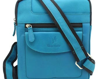 Starhide Mens Womens Distressed Hunter Turquoise Real Leather Cross Body / Travel Messenger Bag For Ipad Tablet 505