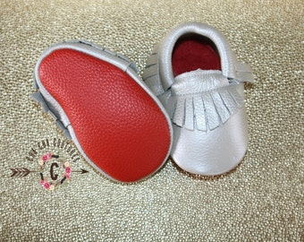 SALE WoW! SILVER Red BOTTOMS 100% genuine leather baby moccasins Mocs moccs top quality, first birthday,