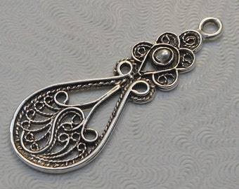LuxeOrnaments Antique Sterling Silver Plated Brass Filigree European Cast Pendant (1 pc) 39x14mm B-14953-S