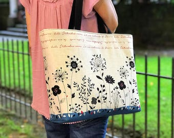 Canvas Tote Bag/ Tote Bag for Women/ Summer Beach Bag/ Market Bag/ Picnic Bag/ Shopping Bag