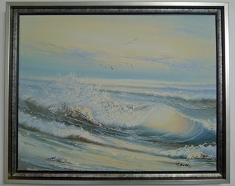 Custom Framed Art, Original Oil Painting of Ocean Waves