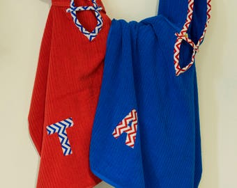 Hooded Towel Poncho, Personalized, in Royal Blue. Boy or Girl print (your choice). Bath Towel. Beach towel.