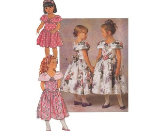 Girls 1990s Party Dress Size 5-6X Vintage 1990s Butterick 5344 Shaped Waistline Cape Collar, Princess Seams Rosette at Back