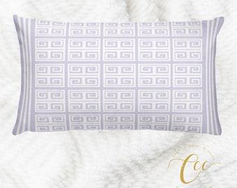 Greek Key Lilac White Pattern Pillow cover,Throw Pillow Cushion Cover, Decorative Pillow Cushion Home Decor