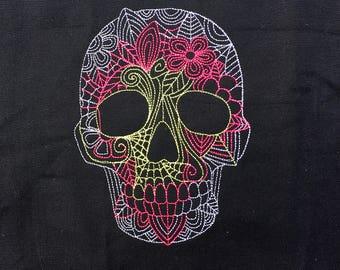 Made To Order - Sugar Skull Knitting Project Bag - Large Project Bag - Knitting Bag - Yarn Bag - Embroidered  Pink Silver Green Sugar Skull