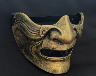 Half cover  Knight Samurai Mask, Airsoft mask, Halloween Costume Cosplay mask, Evil Oni Hannya Kabuki mask, Steampunk wall mask MA214 et