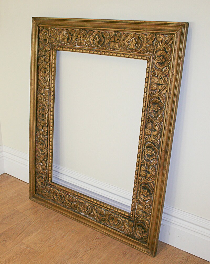 Large Antique Style Carved Ornate Vintage Gilt Wood Mirror