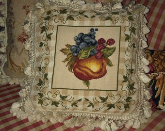 French Country Petit point Needlepoint Fruit Ivy Pillow Cover