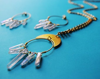 Aria necklace / crystal point necklace / quartz necklace / crescent necklace