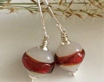Vintage Glass Earrings / Red and White Glass Earrings / Lampwork Glass / Sterling Silver Earrings