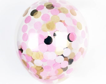 """Pink and Gold Confetti Balloon  - Choose 11, 16, or 36 inch  - Light Pink and Gold  1"""" Circles of Tissue Confetti - Pre-Filled Balloon"""